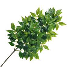 63cm3 Fork Artificial Plants Green Plastic Banyan Branch Tropical Theme Leaves Autumn Garden Home Decoration Indoor Potted Bunch