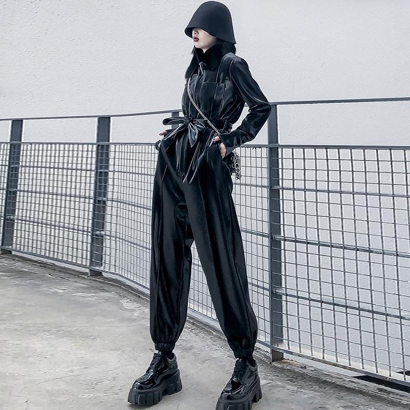 Lautaro Patent Leather Jumpsuits Women Turndown Collar Sashes Long Sleeve Plus Size Pu Leather Joggers Women Reflective Jumpsuit