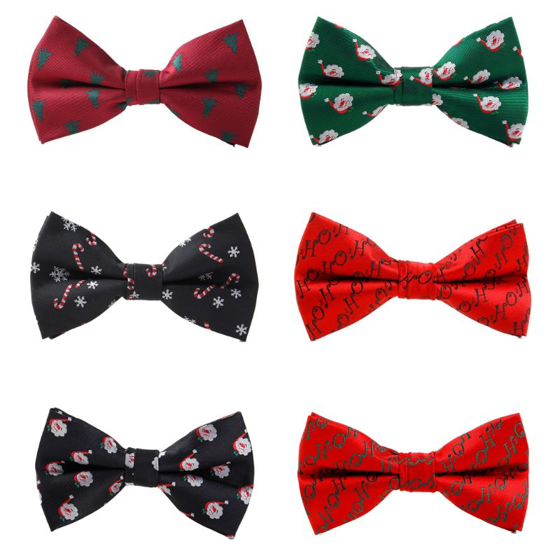Men Christmas Bowtie Xmas Tree Candy Cane Santa Claus Printed Festival Holiday M6CD