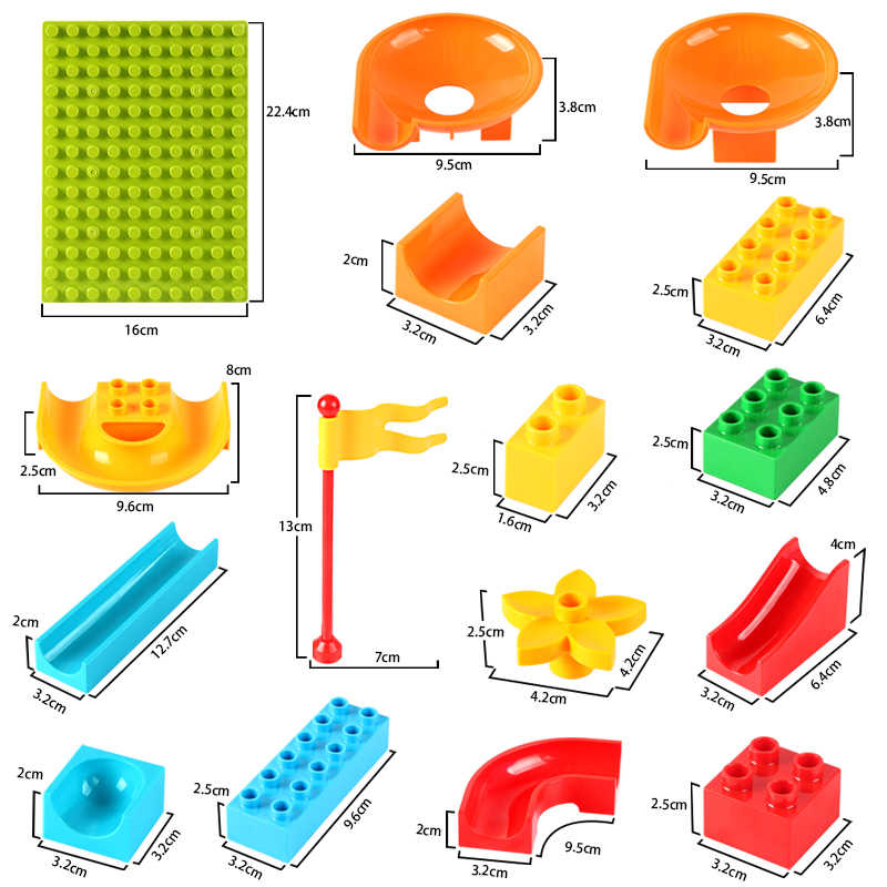 Magical Marble Race Run Block Compatible LegoINGlys Duploed Building Blocks Funnel Slide Blocks DIY Bricks Toys For Children