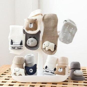 Autumn Winter Soft Cotton Baby Girls Socks Newborn Cartoon Animal Baby Socks Infant Baby Boy Socks Anti Slip Floor Sock Spring
