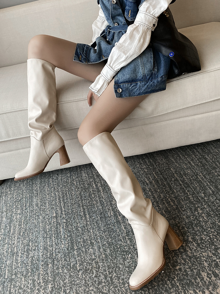 Taoffen High-Heel Boots Winter Shoes Casual-Footwear Square Toe Knee Warm Riding-Botas