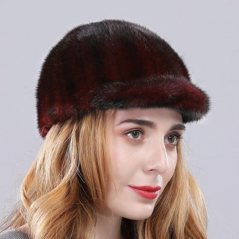 Роскошная женская Норковая меховая шапка зимняя Осенняя модная Натуральная норковая меховая бейсболка Регулируемая брендовая качественная - Цвет: wine