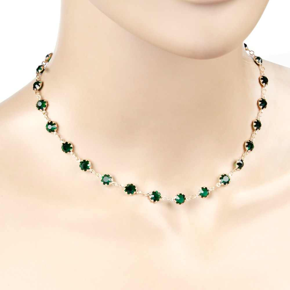 Fashion Jewelry Gold Silver Color Green Zircon Choker  Necklace  For Women Geometric Collier Femme Jewelry