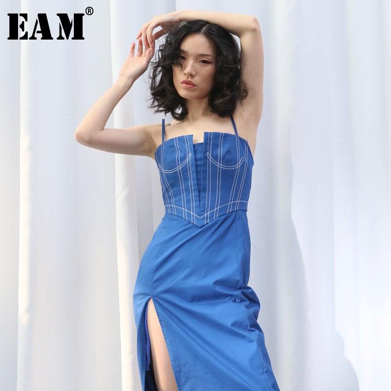 [EAM] 2020 New Spring Summer Spaghetti Strap Line Split Joint Irregular Cut High Vent Temperament Dress Women Fashion Tide JS592