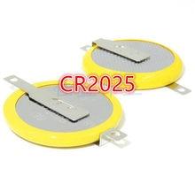 10 pces cr2025 2025 3 v 180 graus de solda pé com furo guia botão bateria