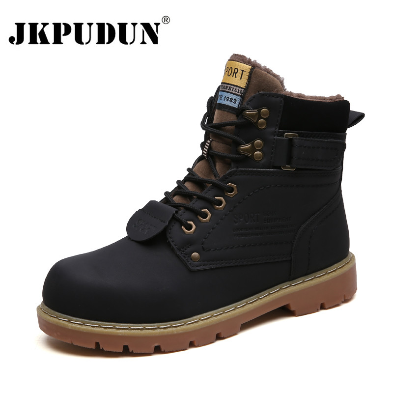 Warm Winter Ankle Boots Men Casual Shoes Lace-Up Autumn Leather Waterproof Work Tooling Mens Boots Military Army Botas JKPUDUN