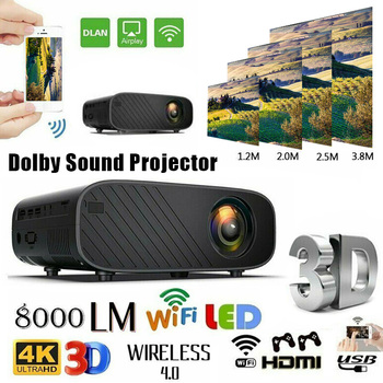 4K 3D WiFi Wireless LED Projector Android 6.0 1080P HD 1G RAM 8G ROM Home Theater NC99