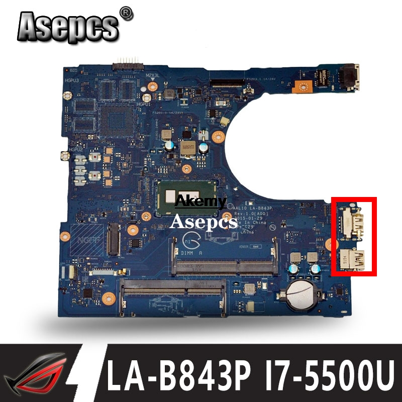 For RC3PN Dell Inspiron 15 5558 Laptop Motherboard AAL10 LA-B843P CN-0RC3PN SR23W I7-5500U DDR3L Fully Tested
