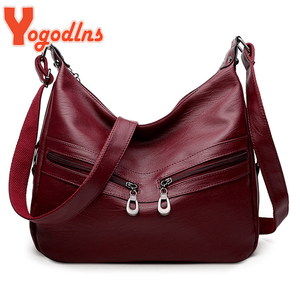 Yogodlns Vintage Soft PU Leather Shoulder Bag Women Brand Crossbody Bag Large Capacity Handbag Luxury Lady Messenger Bag bolso