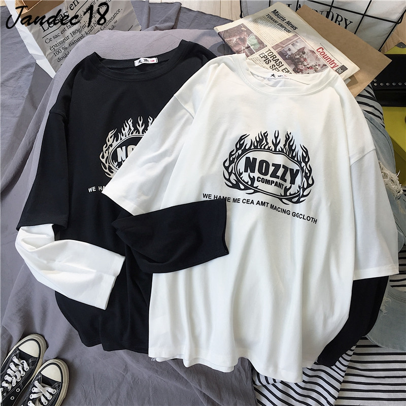 Summer Harajuku Punk Print Black White O Neck Patchwork Long Sleeve Couple T Shirt Hip Hop Punk Loose Tops Tees Women Clothes