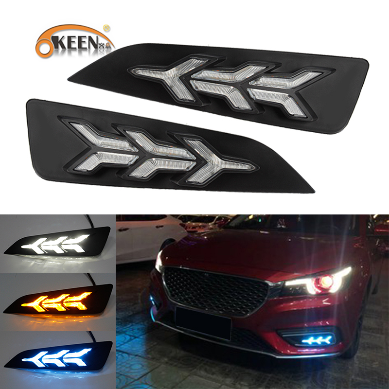 OKEEN 2pcs Car LED Daytime Running Light for <font><b>MG6</b></font> 2018 <font><b>2019</b></font> Day Lights White Blue Flowing Yellow Turn Signal Light White Fog Lamp image