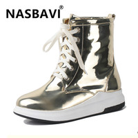 New Arrive gold Winter Boots Women Waterproof Warm Snow Boots round toe lace up Women Shoes Casual Platform Boots Women 35 43