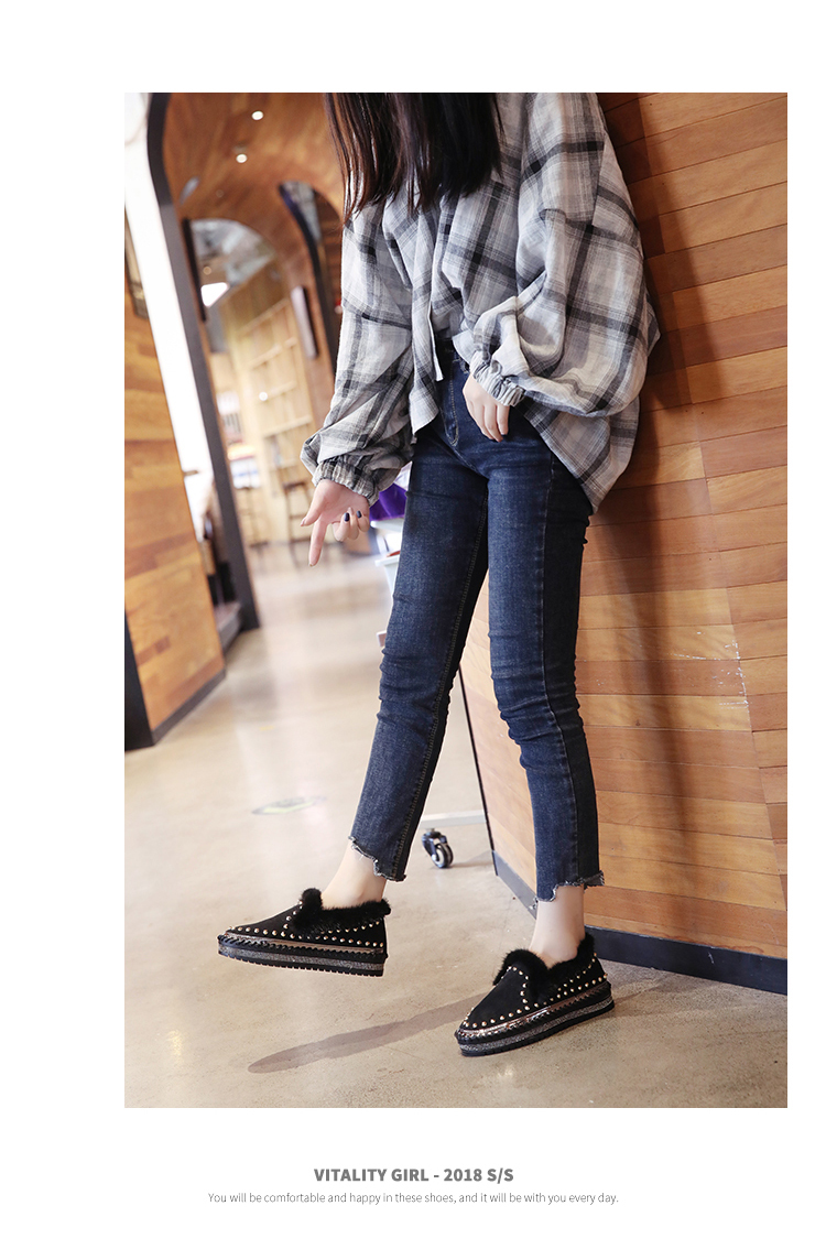 2019 Winter New Women Fur Loafers Comfortable Casual Platform Sneakers 71