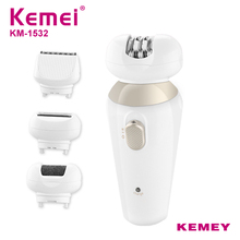 цена на Kemei 4 In 1 Ms Professional Rechargeable Callus Remover Electric Care Kit Shaver Epilator for Body Underarm Face KM-1532
