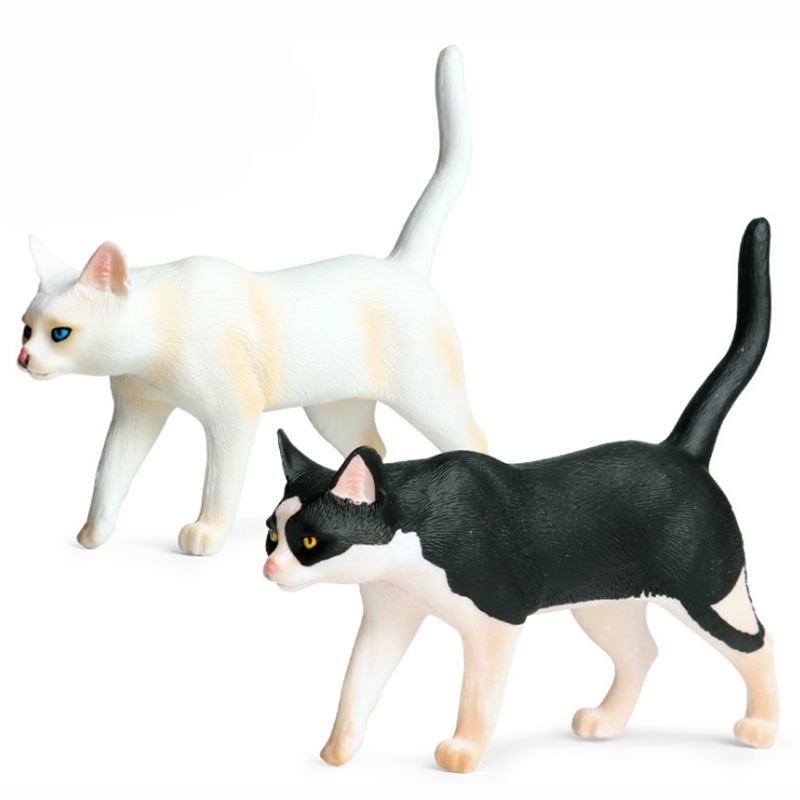 Black/White Cat Model Action Figure Pets Animal Action Figures Collection PVC Children Cognitive Toys