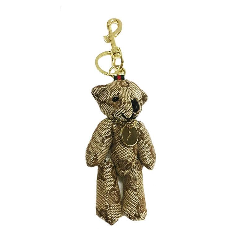 2019  New Cute Cartoon Teddy Bear Keychain Linen Cloth Doll Keys Pendant Long Feet Bear Woman Bag Hanging Gift Children's Gift