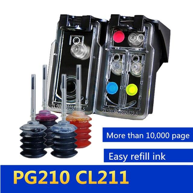 GraceMate için yeniden doldurulabilir mürekkep kartuşu değişimi Canon PG 210 CL 211 Pixma IP2700 IP2702 MP240 MP250 MP260 MP270