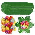 90Pcs Tropical Palm Leaves and Hibiscus Flowers, Artificial Leaves Plants Hibiscus Flowers Fete Deco, Hawaiian Party Jungle Beac