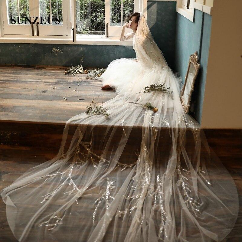 Швейцарские тюлевые Свадебные вуали высокого класса с блестками 4 М длинные вуали невесты для взрослых свадебные аксессуары Velos Novia Largos LVV10