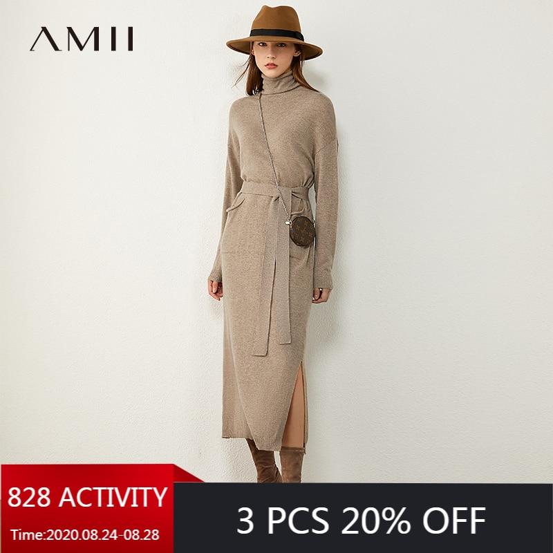AMII Minimalism Autumn Fashion Knitted Women Dress Solid Turtleneck Slim Fit Belt Dress Causal Calf-length Female Dress 12040304