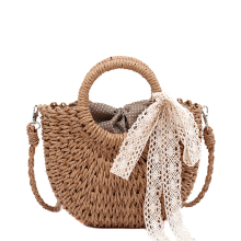 Summer Straw Bag Women Beach Bag Rattan Woven Shoulder Drawstring Messenger Bag Bohemian Lady Knitted Tote Small Bow Lace Sweet