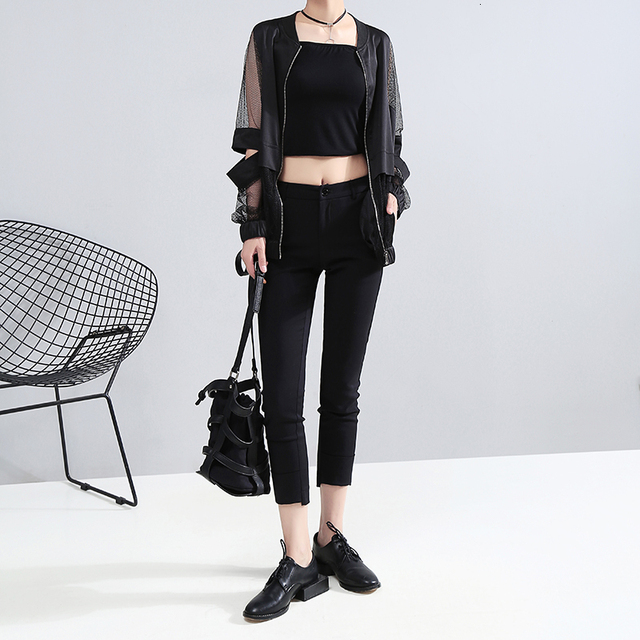 [EAM] Loose Fit Perspective Big Size Hollow Out Jacket New Stand Collar Long Sleeve Women Coat Fashion Tide Spring 2021 JF73401 2