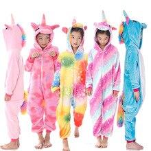 Детские пижамы с единорогом; Детский комбинезон с героями мультфильмов; фланелевая одежда для сна для мальчиков и девочек; детская одежда с рисунком панды и кигуруми «Единорог»