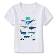 New Summer Baby Short-sleeved Childrens White T-shirt Seabed World Pattern Whale Shark Modal Kids Boys Girls O-Neck T Shirt Tees