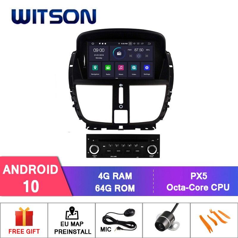Witson android 10 octa-core (oito-núcleo) 4g ram carro dvd gps para peugeot 207/207cc 2007-2014 áudio carro sistema de áudio gps