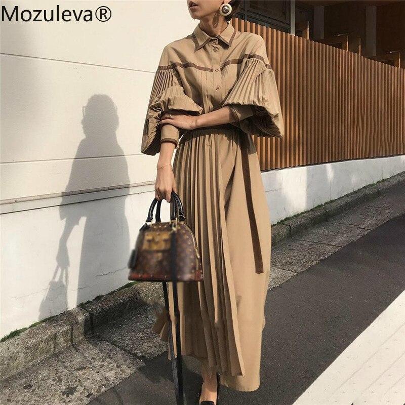 Mozuleva 2020 Vintage Lantern Sleeve Pleated Women Dress Fashion Lace Up Patchwork Female Dress Single-breasted Vestidos femme
