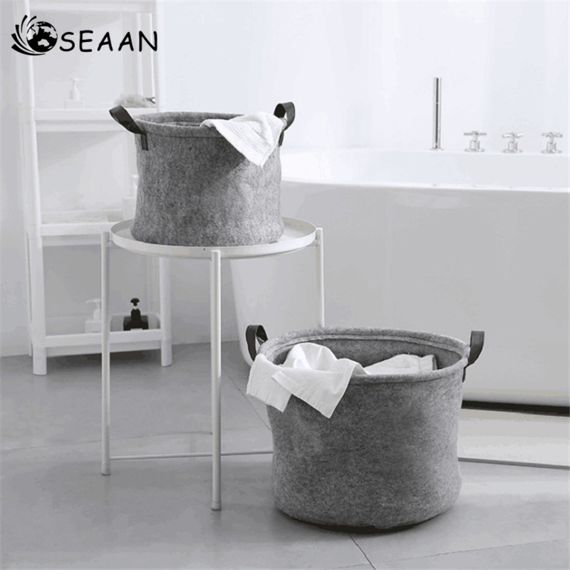 SEAAN Storage Basket Household Manual Knitted Dirty Clothing Felt Storage Bag Toys Sundries Home Storage & Organization Durable Салфетницы