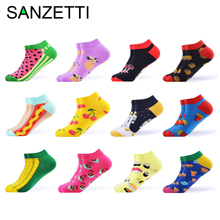 SANZETTI 12 Pairs/Lot Women Summer Casual Colorful Ankle Socks Happy Combed Cotton Short Socks Novelty Pattern Boat Gifts Socks