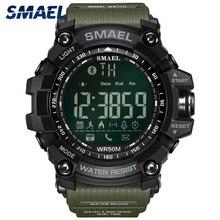 SMAEL dijital saat erkekler Bluetooth akıllı saat su geçirmez 50M büyük arama çağrı hatırlatma uzaktan kamera açık spor kol saati 1617B