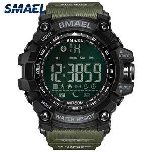 Image 1 - SMAEL dijital saat erkekler Bluetooth akıllı saat su geçirmez 50M büyük arama çağrı hatırlatma uzaktan kamera açık spor kol saati 1617B