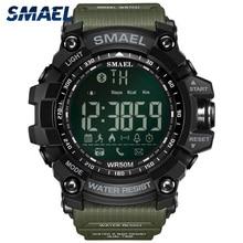 Smael relógio digital dos homens bluetooth relógio inteligente à prova d50 água 50m grande dial chamada lembrete remoto câmera esporte ao ar livre relógio de pulso 1617b