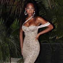 Simenual Sexy Hot Bodycon Party Dresses Women Sleeveless Leopard Fashion 2019 Mini Dress Skinny Ruched One Shoulder Clubwear New