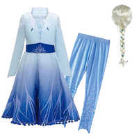 Ano novo fantasia neve rainha 2 meninas elsa vestido crianças casaco e leggings natal princesa roupas fantasia traje elza vestir-se