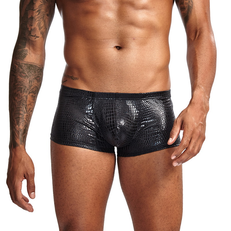 Sexy Mens Snake Skin Imitation Leather Underwear Boxers Crotchless Boxer Shorts Men U Convex Low Waist Male Underpants