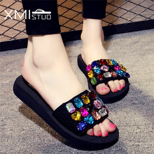 Image 1 - XMISTUO Fashion Women Handmade Sandals Solid Diamond Female Summer Beach Water Resistant 3CM Low Heeled Slippers 9 Color 7167