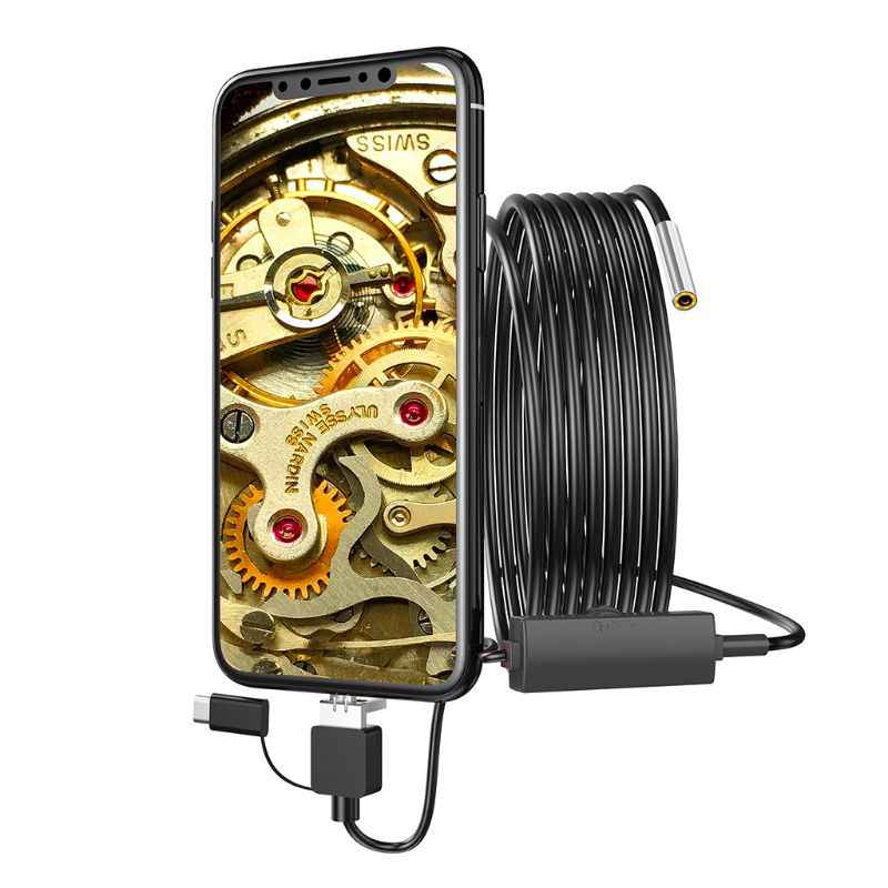 IP67 Waterproof 6 Adjustable LED Ultra Thin Waterproof Inspection Snake Camera Micro USB And Type C mooderf USB Endoscope 3 In 1 Borescope