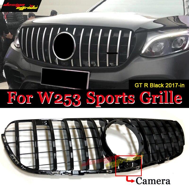 Pour Mercedes W253 GT R Style grille avant avec caméra ABS argent GLC classe GLC250 GLC350 GLC400 Sports grilles avant pas signe 17-in