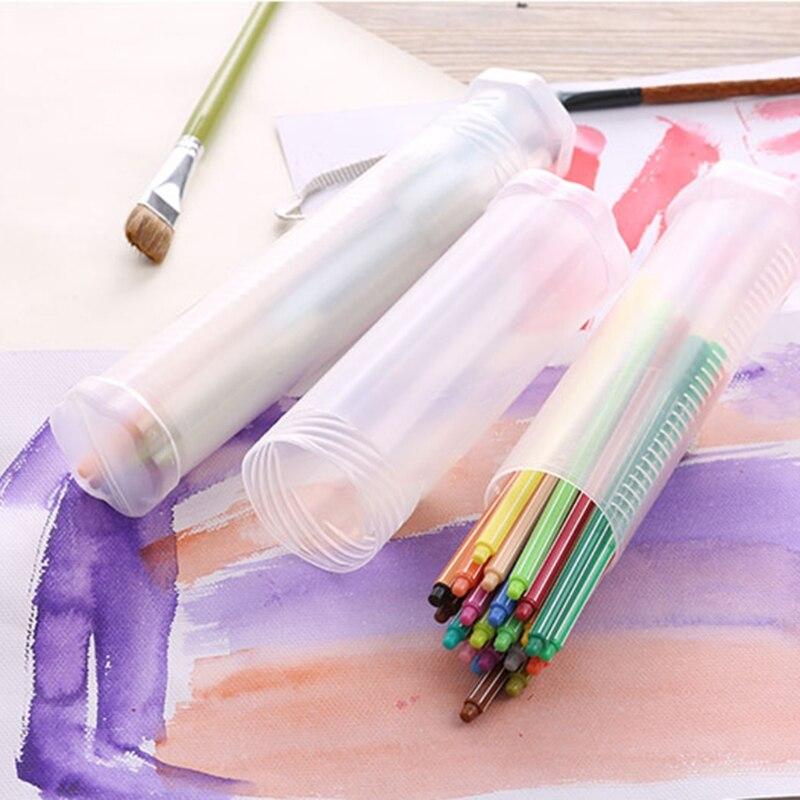 Slim Transparent Cylinder Pencil Case Adjustable Plastic Pen Holder Portable