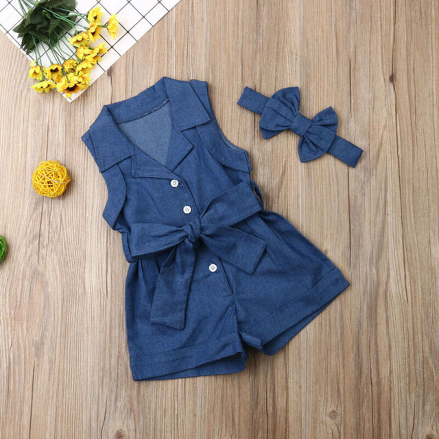 Maximum supplier 2019 1-6Years  Summer Toddler Kids Baby Girl Clothes Denim Romper Jumpsuit 2PCS Outfits Set