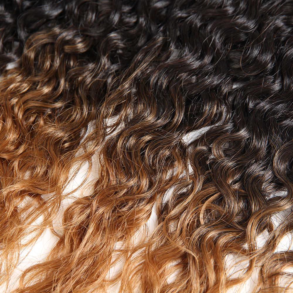 غريب مجعد الشعر الاصطناعية نسج حزم 16-20 بوصة 8 قطع خياطة في ينسج X-TRESS أومبير براون مزيج 30% خصلة شعر بشرية تمديد