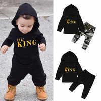 Meninos Roupas de inverno Criança Crianças Bebê Meninos Carta Moletom Com Capuz T Shirt Tops + Camo Calças Outfits Clothes Set Roupa Infantil para 6M-3Y