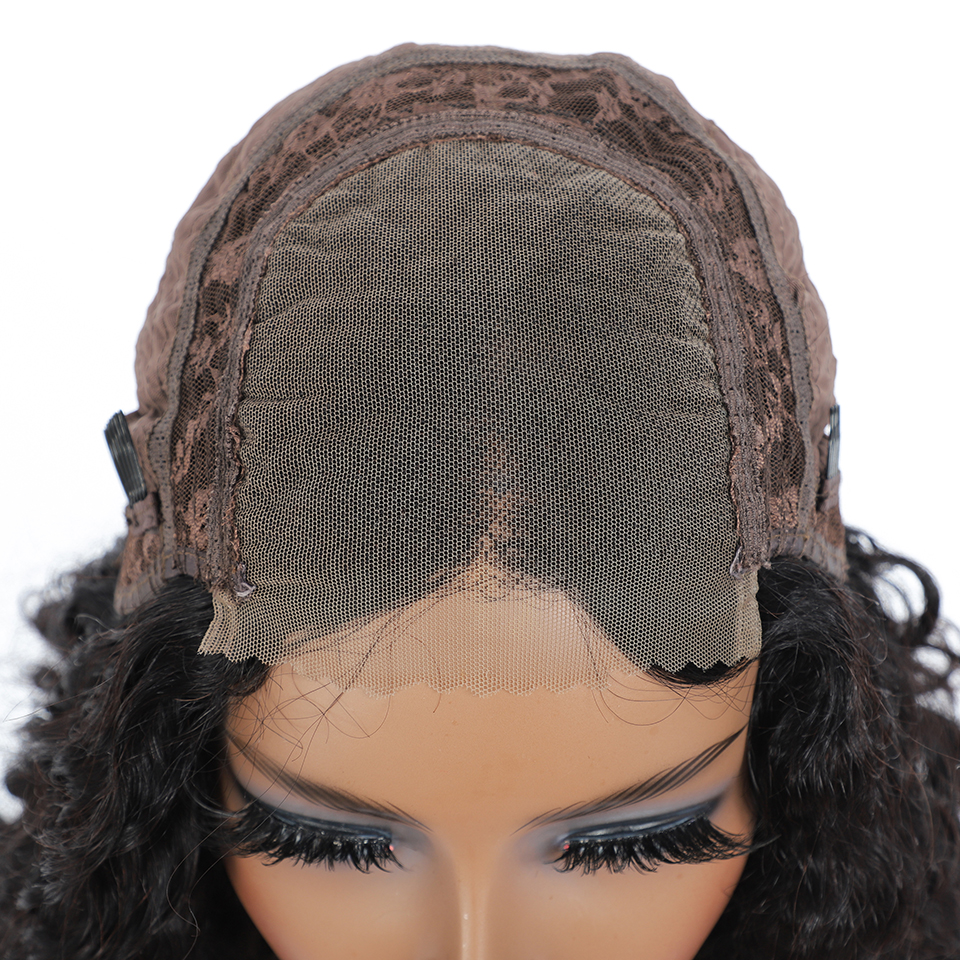 lace front human hair wigs for Black Women deep wave curly hd frontal bob wig brazilian afro short  water wig 4*4 6