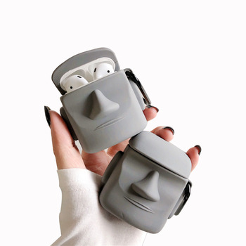 For AirPod 1 2 Case 3D Easter Island Stone Statue Soft Silicone Earphone Cases Apple Airpods Cute Cover Funda Keychain