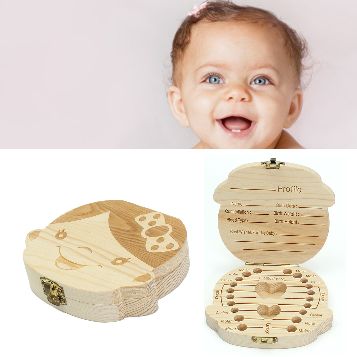 Wooden Kids Baby Tooth Box Organizer Milk Teeth Wood Storage Box for Boy Girl US