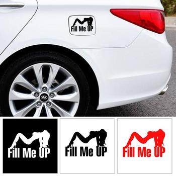 1pcs Car tank cover Reflective stickers Universal Car-Styling Accessories Creative Funny Auto Decals Fill me up TXTB1 image